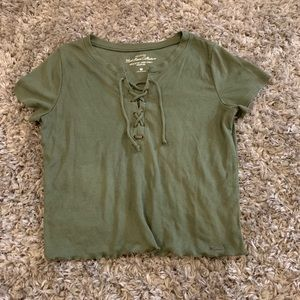 hollister army green lace up short-sleeved top